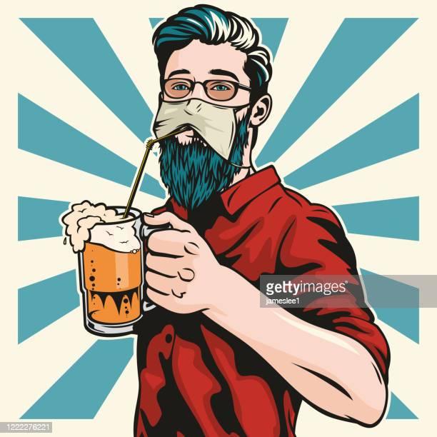 hipster tragen schutzgesichtsmaske getränke bier - corona beer stock-grafiken, -clipart, -cartoons und -symbole