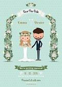 Hipster wedding invitation card bride & groom cartoon beach them
