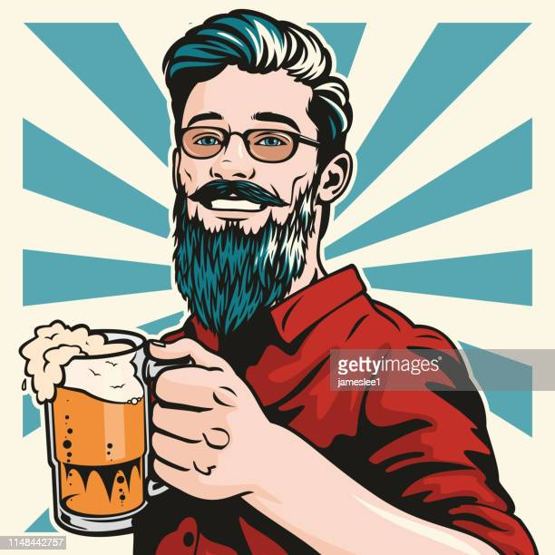 hipster with beer - beer alcohol stock illustrations