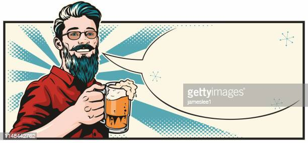 hipster with beer - lager stock illustrations, clip art, cartoons, & icons