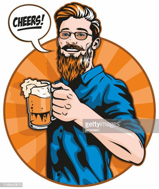 hipster with beer - only men stock illustrations, clip art, cartoons, & icons