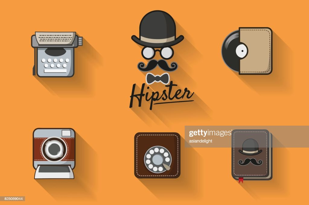 Hipster with mustache. Hipster icon vector theme set with vintage analog dial phone, record,  instant camera and typewriter. Vintage style for hipster decorate on website or phone background