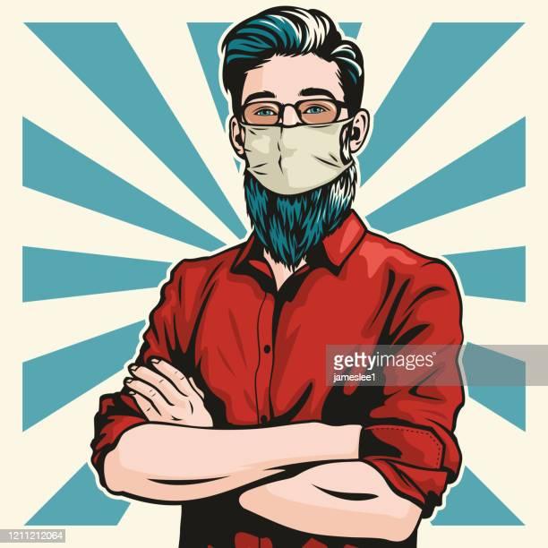 hipster mit chirurgischer maske und arme gefaltet - mundschutz stock-grafiken, -clipart, -cartoons und -symbole