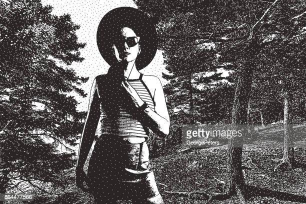 hipster woman enjoying nature and forest. tettegouche state park. minnesota - aspen tree stock illustrations, clip art, cartoons, & icons