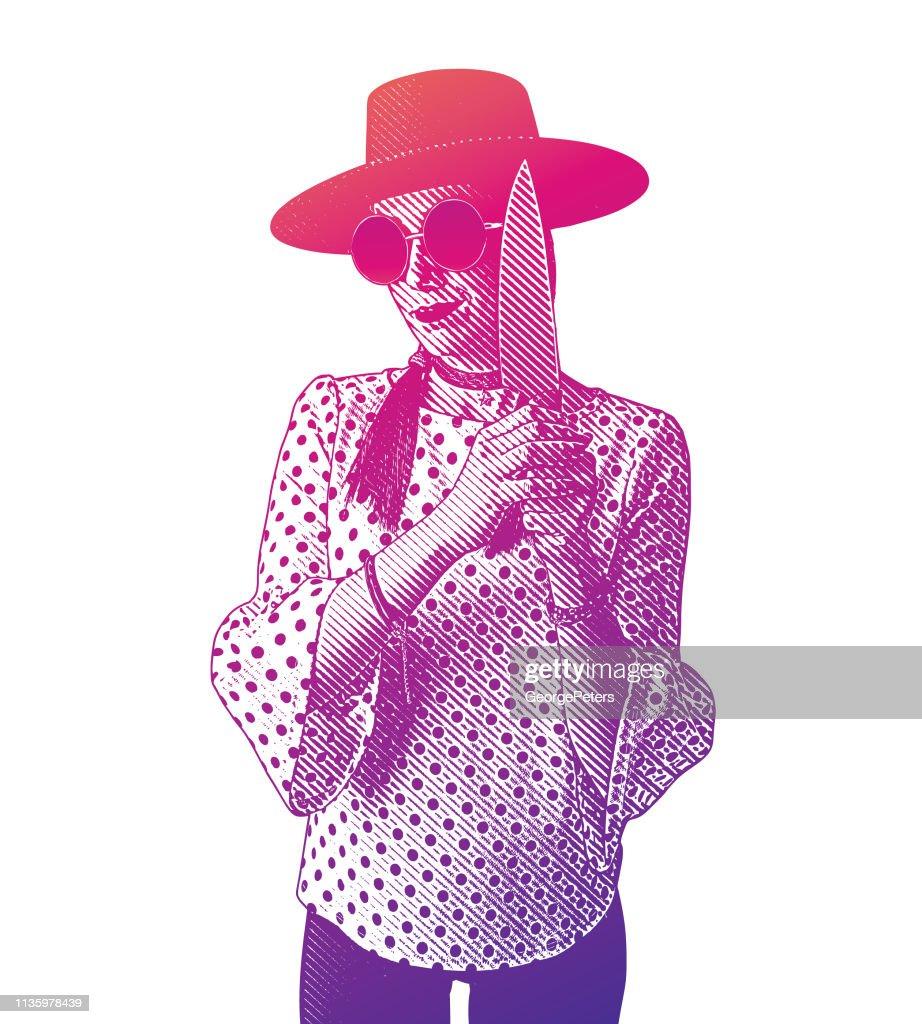 Hipster woman holding knife : stock illustration