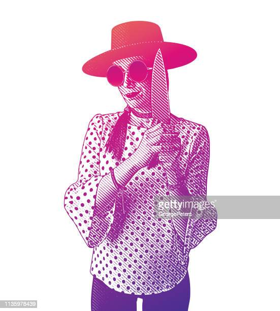 Hipster woman holding knife