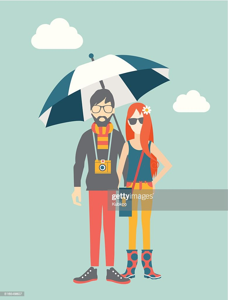 Hipster young couple concept. Vector illustration.