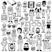Hipsters doodle hand drawn vector set.