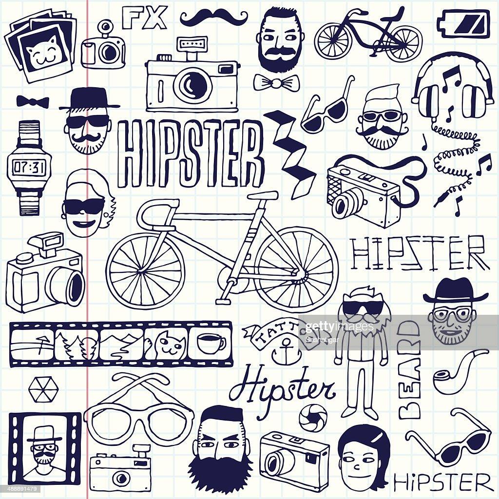 Hipsters doodles set. School notebook. Vector illustration.