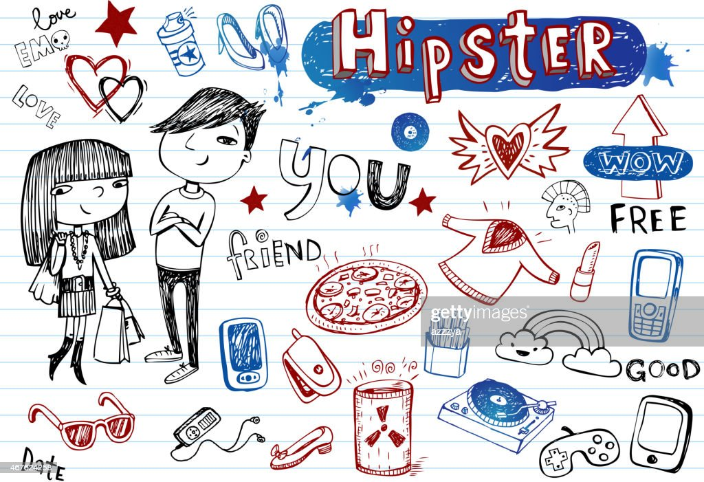 Hipsters hand-drawn doodle set in black, blue and red