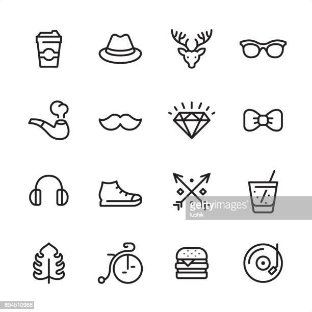 hipsters - outline icon set - hat stock illustrations