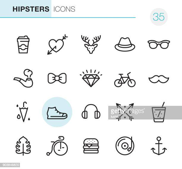 hipsters - pixel perfect icons - shoe stock illustrations, clip art, cartoons, & icons