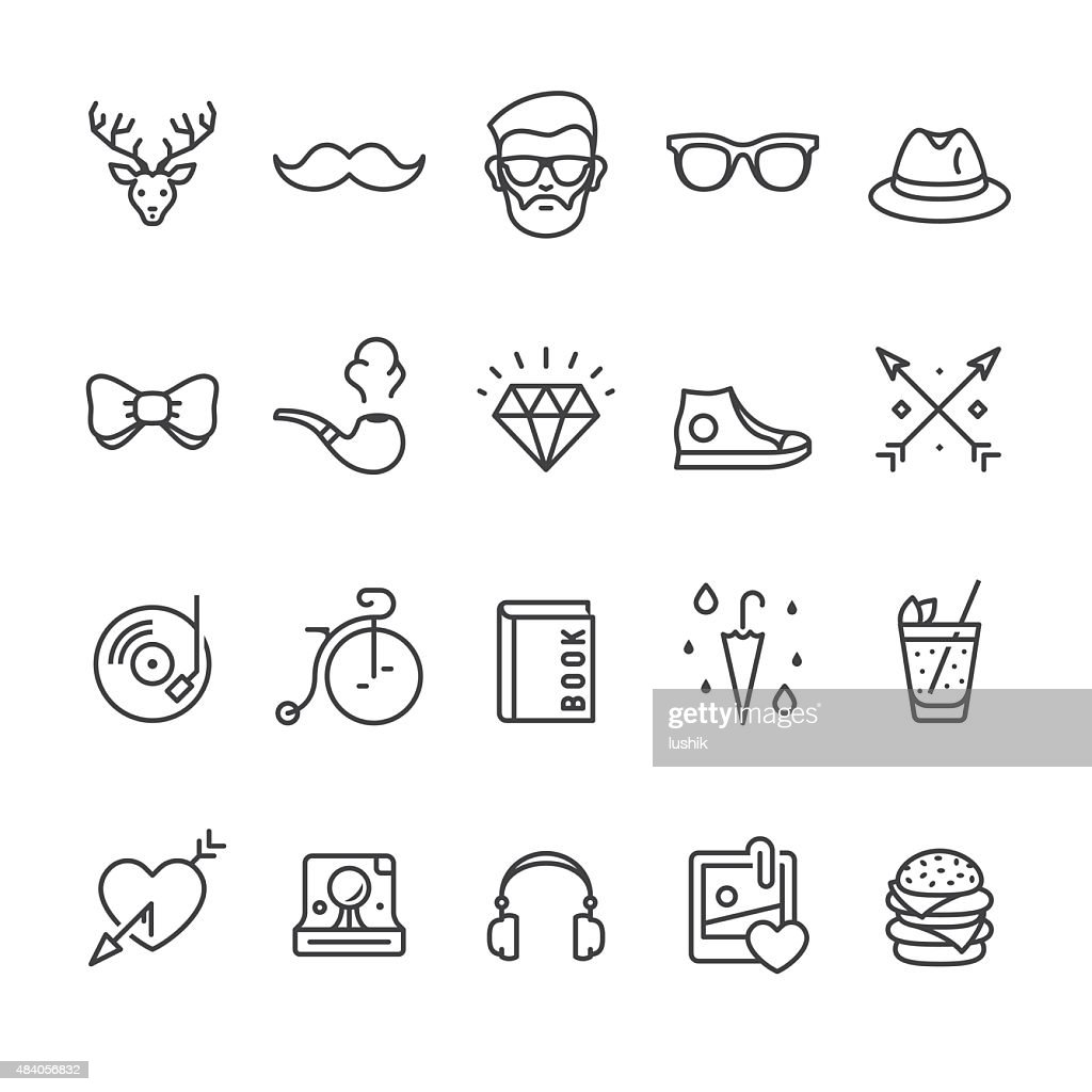 Hipsters related vector icons : stock illustration