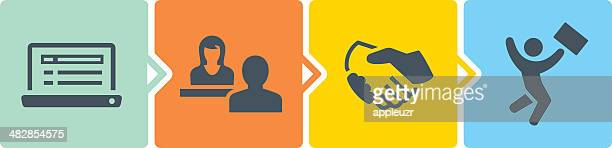 hiring process - recruiter stock illustrations