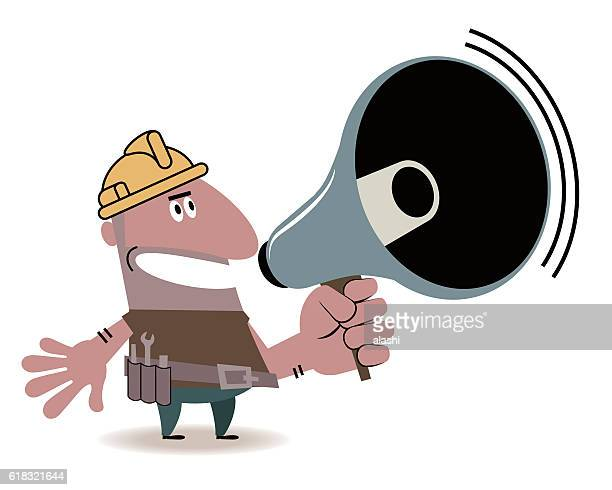 hispanic construction worker with megaphone - metal industry stock illustrations