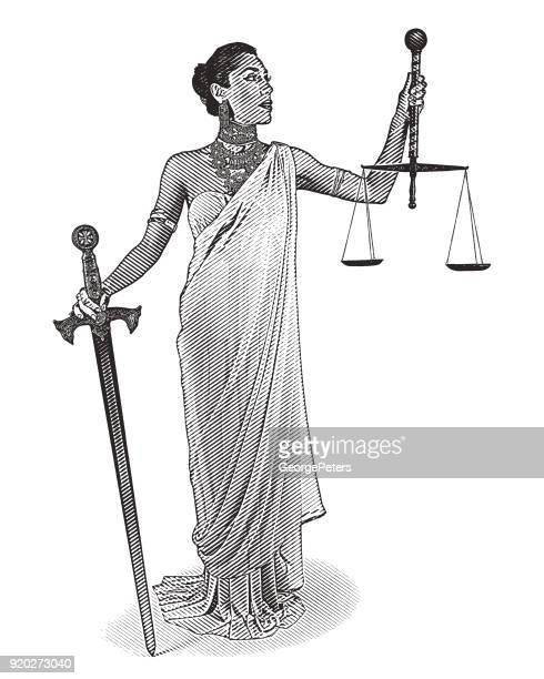 hispanic lady justice holding sword and scales - one mid adult woman only stock illustrations
