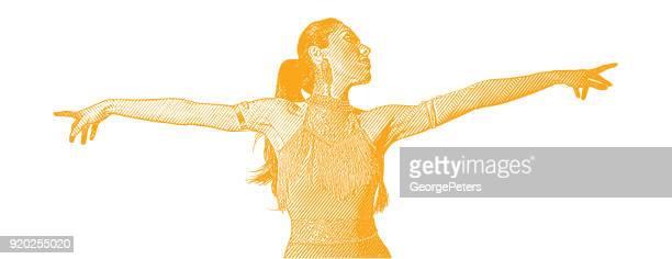 hispanic woman latin dancing - salsa dancing stock illustrations, clip art, cartoons, & icons