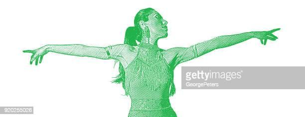 Hispanic woman Latin dancing