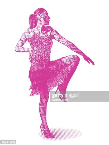ilustraciones, imágenes clip art, dibujos animados e iconos de stock de mujer hispana latina bailando - latin american dancing