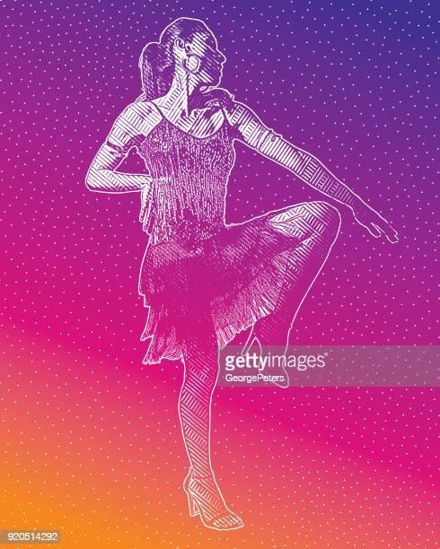 hispanic woman latin dancing - samba dancing stock illustrations, clip art, cartoons, & icons