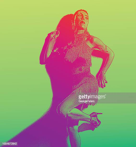 ilustraciones, imágenes clip art, dibujos animados e iconos de stock de mujer hispana con moda de baile latino - latin american dancing