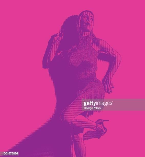 hispanic trägerin latin dance fashion - samba stock-grafiken, -clipart, -cartoons und -symbole