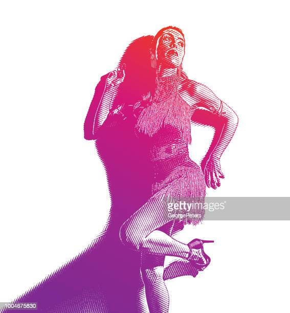 hispanic woman wearing latin dance fashion - salsa dancing stock illustrations, clip art, cartoons, & icons