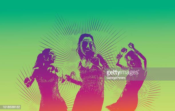 ilustraciones, imágenes clip art, dibujos animados e iconos de stock de baile latino de las mujeres hispanas - latin american dancing