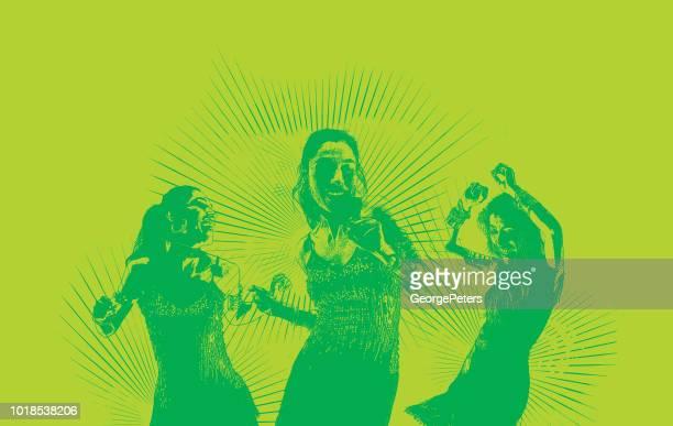ilustraciones, imágenes clip art, dibujos animados e iconos de stock de baile latino de las mujeres hispanas - mujeres de mediana edad