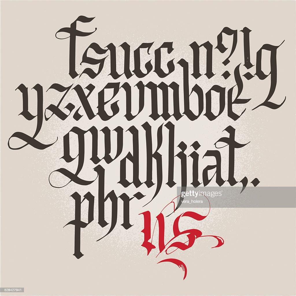 Historic Gothic handwriting. Alphabet