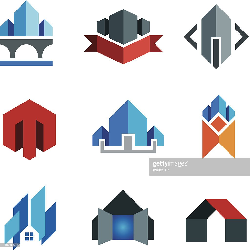 historic virtual building construction architecture company label smart house logo