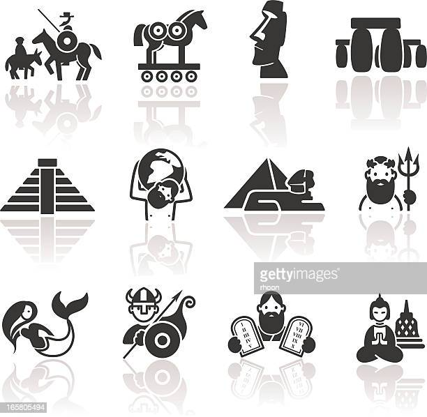 historical icons - greek mythology stock illustrations