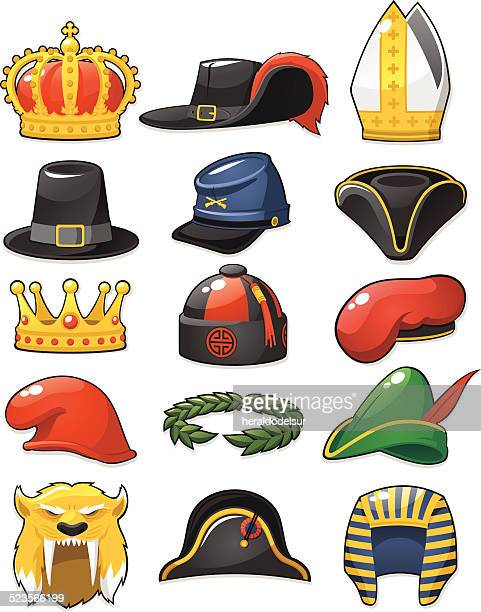 historical_hats_set - hat stock illustrations