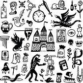 history , fairy tale - icons set