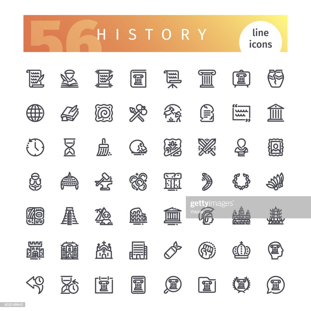 History Line Icons Set