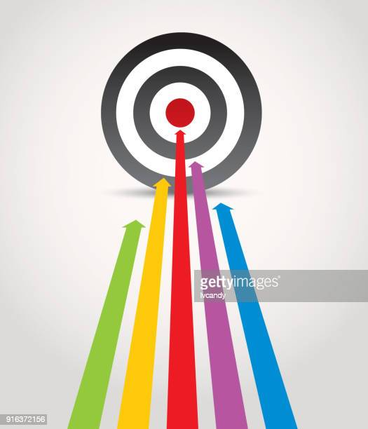 hit the target - aspirations stock illustrations