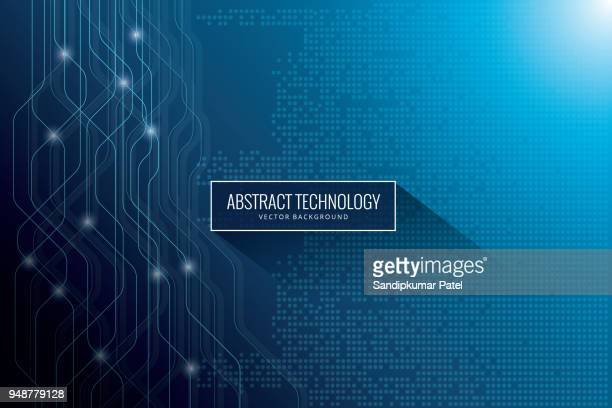 hi-tech digital communication concept on the blue background - technology stock illustrations