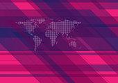 Hi-tech geometric background with world map