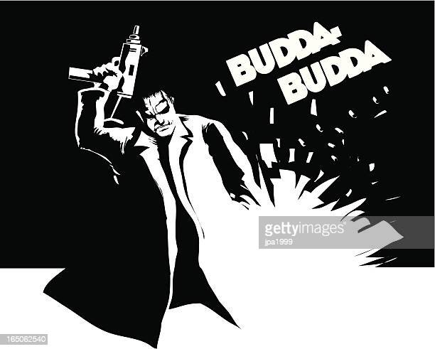 ilustraciones, imágenes clip art, dibujos animados e iconos de stock de hitman - submachine gun