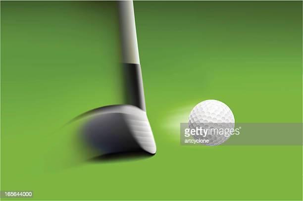 hitting golf ball - golf swing stock illustrations, clip art, cartoons, & icons