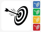 Hitting Target Icon Flat Graphic Design