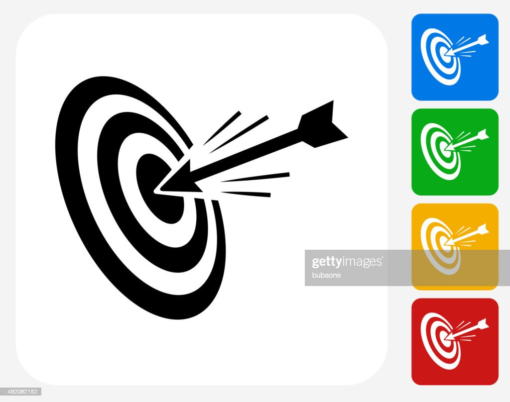Hitting Target Icon Flat Graphic Design