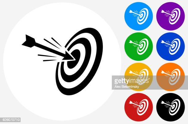 Hitting Target Icon on Flat Color Circle Buttons