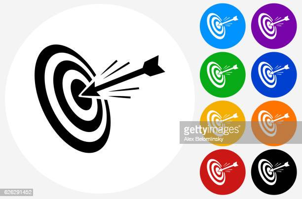 hitting target icon on flat color circle buttons - zielscheibe stock-grafiken, -clipart, -cartoons und -symbole