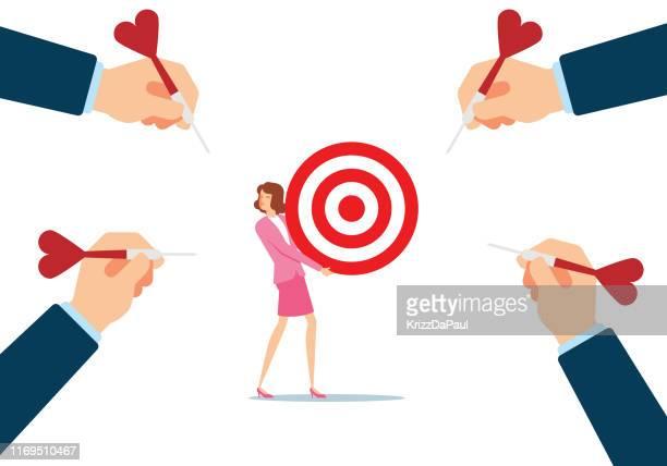 hitting the target - dart stock illustrations