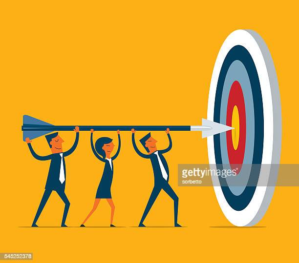 hitting the target - aiming stock illustrations