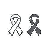 Hiv ribbon line and glyph icon, health and aid, awareness ribbon sign, vector graphics, a linear pattern on a white background, eps 10.