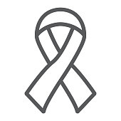 Hiv ribbon line icon, health and aid, awareness ribbon sign, vector graphics, a linear pattern on a white background, eps 10.