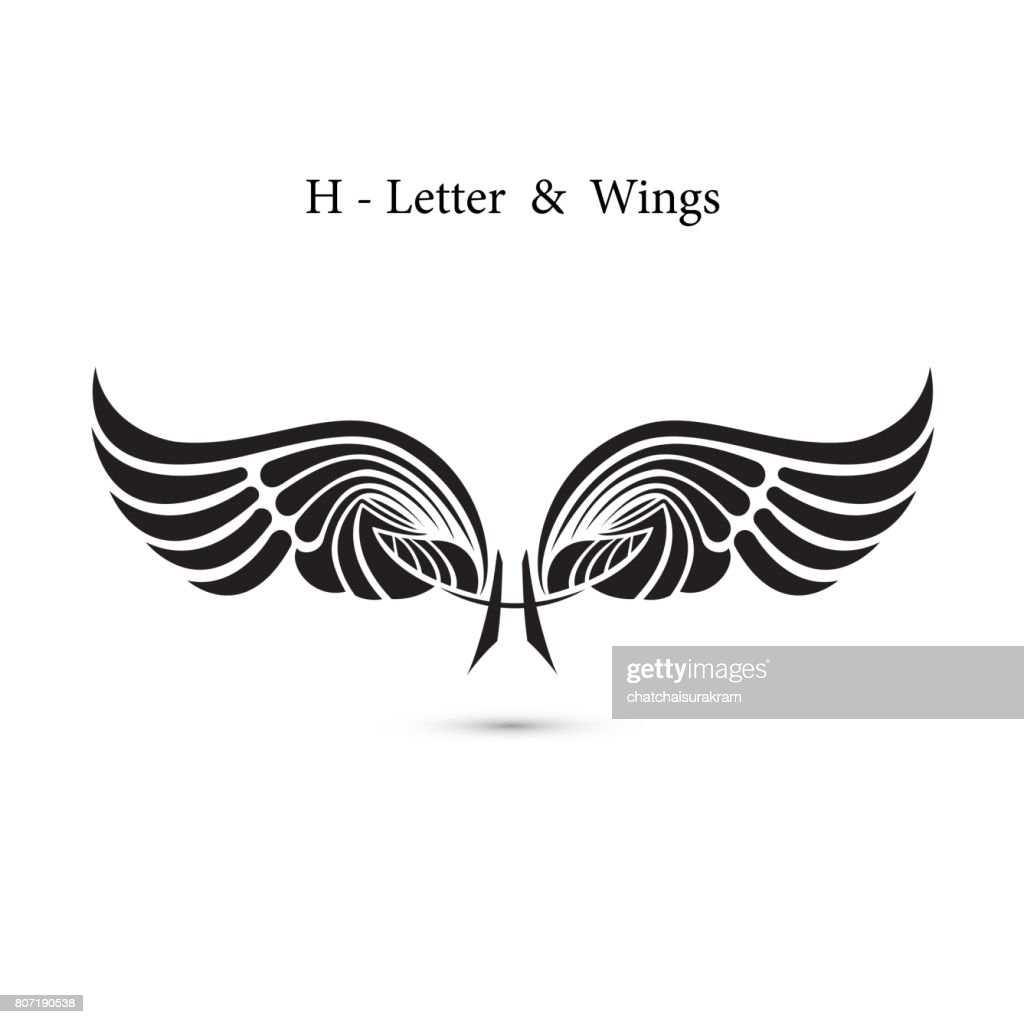 H-letter sign and angel wings.Monogram wing icon.Classic emblem.Elegant dynamic alphabet letters with wings.Creative design element.symbol identity.Flat web design wings icon.