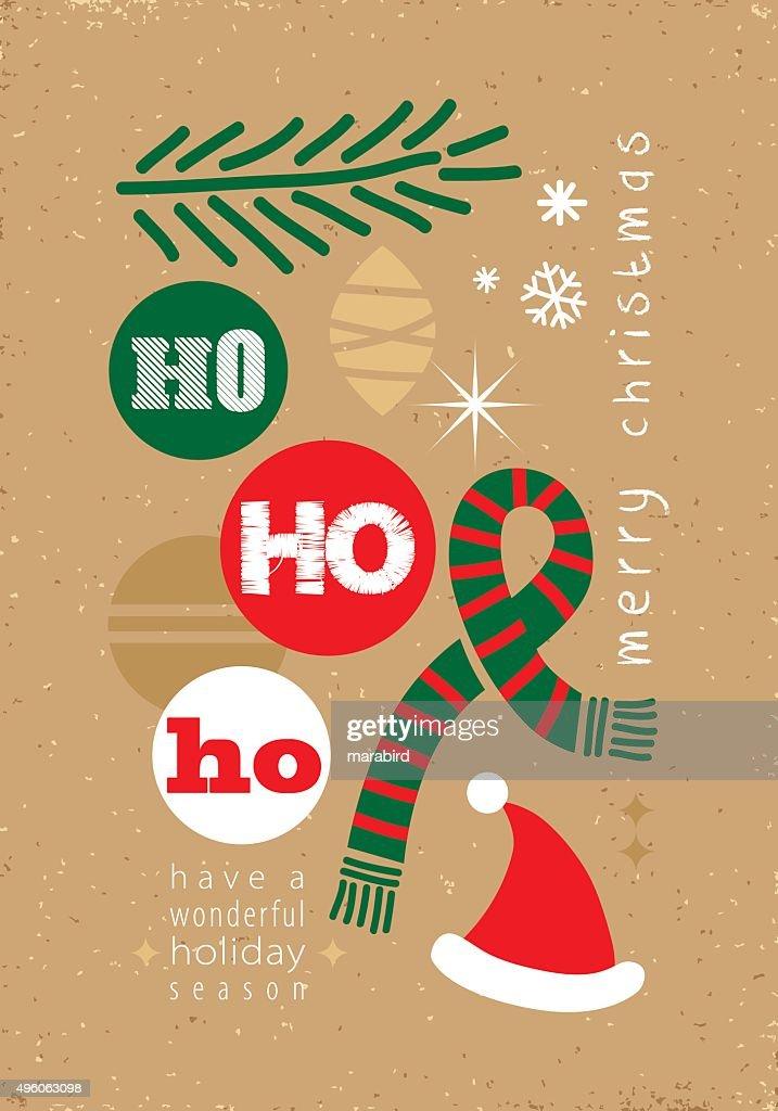 Ho Ho Ho Christmas Card Vector Art | Getty Images